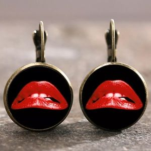 Red Lips Bronze Glass Cabochon Lever Back Earrings